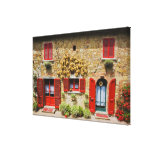 Italy, Lucignano, Red Shutters and Harvest Stretched Canvas Prints