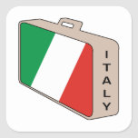 Italy Luggage Square Stickers