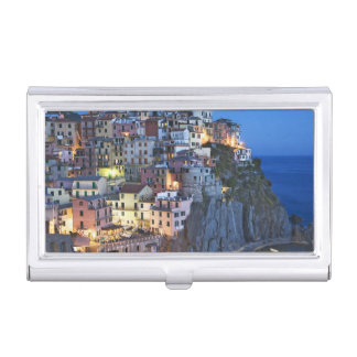 Italy, Manarola. Dusk falls on a hillside town Business Card Holder