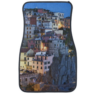 Italy, Manarola. Dusk falls on a hillside town Car Mat