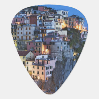 Italy, Manarola. Dusk falls on a hillside town Plectrum