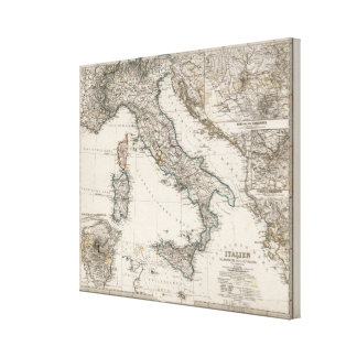 Italy Map by Stieler Canvas Print