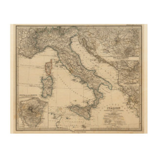 Italy Map by Stieler Wood Wall Art