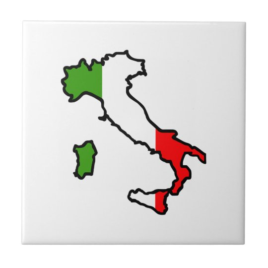 ITALY MAP FLAG SMALL SQUARE TILE