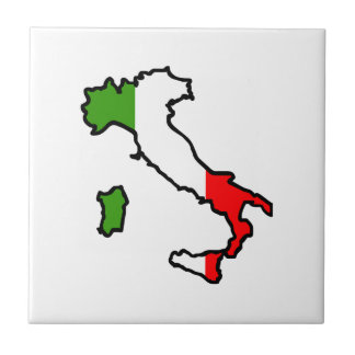 ITALY MAP FLAG TILE