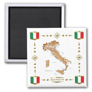 Italy Map + Flags Magnet