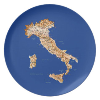 Italy Map Plate