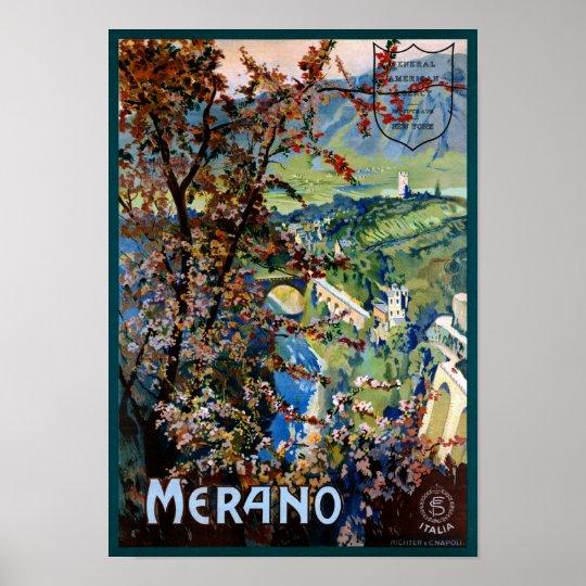 Italy Merano Meran Restored Vintage Travel Poster