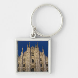 Italy, Milan Province, Milan. Milan Cathedral, Silver-Colored Square Key Ring