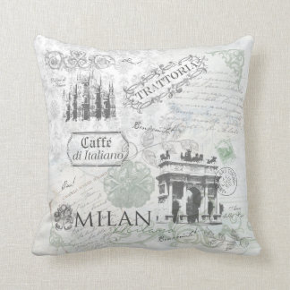 Italy Milan Travel Collage Pillow decor