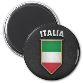Italy Pennant with high quality leather look 6 Cm Round Magnet
