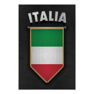 Italy Pennant with high quality leather look Poster