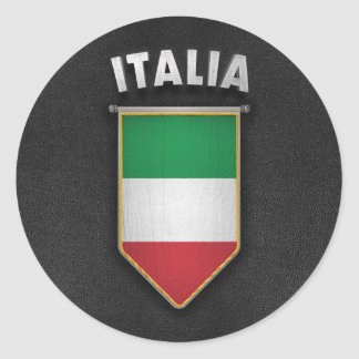 Italy Pennant with high quality leather look Round Sticker