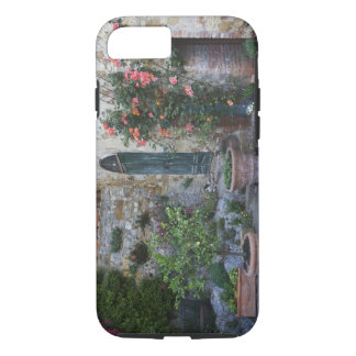 Italy, Petroio. Potted plants decorate a patio iPhone 8/7 Case