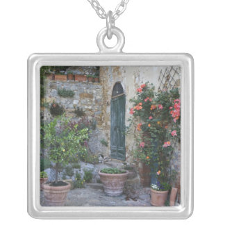 Italy, Petroio. Potted plants decorate a patio Silver Plated Necklace