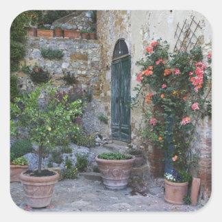Italy, Petroio. Potted plants decorate a patio Square Sticker