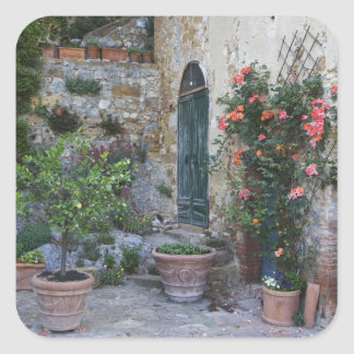 Italy, Petroio. Potted plants decorate a patio Sticker