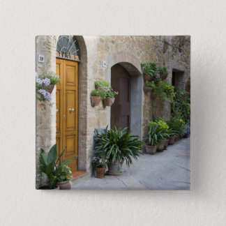 Italy, Pienza. Flower pots and potted plants 15 Cm Square Badge