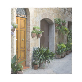 Italy, Pienza. Flower pots and potted plants Notepad