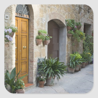 Italy, Pienza. Flower pots and potted plants Square Sticker