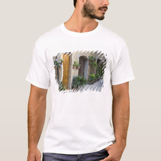 Italy, Pienza. Flower pots and potted plants T-Shirt