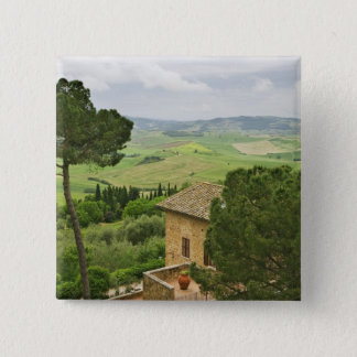 Italy, Pienza. View of the Tuscany 15 Cm Square Badge
