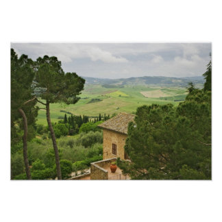 Italy, Pienza. View of the Tuscany Poster