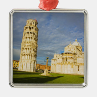Italy, Pisa, Duomo and Leaning Tower, Pisa, 2 Silver-Colored Square Decoration
