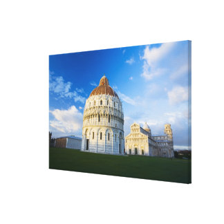 Italy, Pisa, Duomo, Leaning Towerand Field of Canvas Print