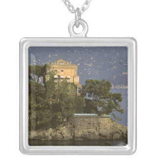 Italy, Portofino. Scenic life on the Silver Plated Necklace
