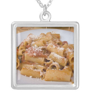 Italy, Positano. Display plate of rigatoni. Silver Plated Necklace