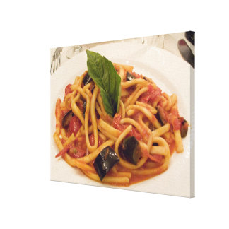 Italy, Positano. Plate of pasta and eggplant. Canvas Print