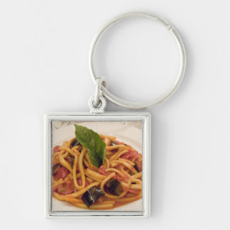 Italy, Positano. Plate of pasta and eggplant. Key Ring