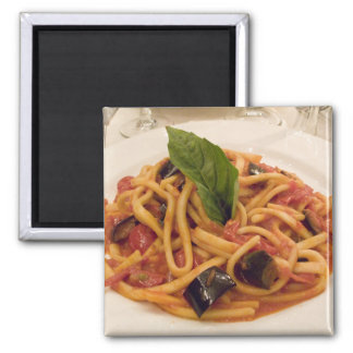 Italy, Positano. Plate of pasta and eggplant. Square Magnet