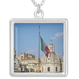 Italy, Rome. Italian flag Silver Plated Necklace