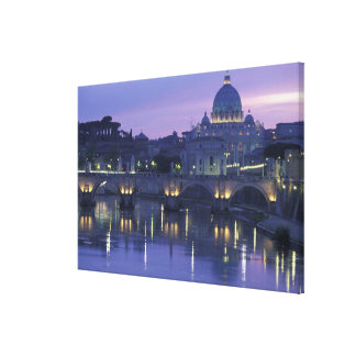 Italy, Rome St. Peter's and Ponte Sant Angelo, Canvas Print