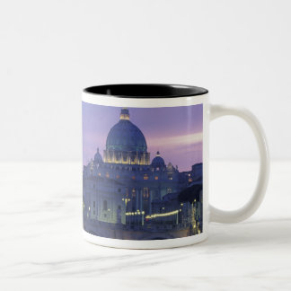 Italy, Rome St. Peter's and Ponte Sant Angelo, Two-Tone Coffee Mug