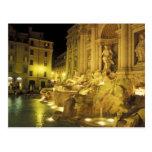Italy, Rome. Trevi Fountain at night. Postcard