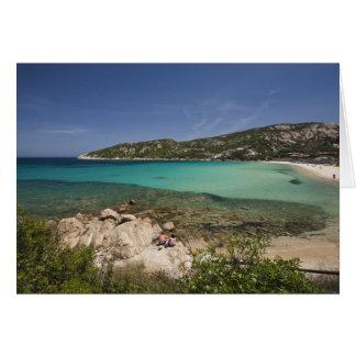 Italy, Sardinia, Baja Sardinia. Resort beach. Greeting Card