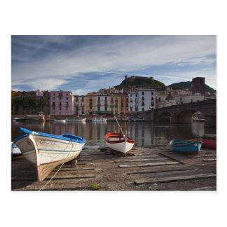 Italy, Sardinia, Bosa. Temo River and Ponte Postcard