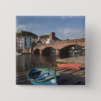 Italy, Sardinia, Bosa. Town view along Temo 15 Cm Square Badge
