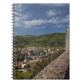 Italy, Sardinia, Bosa. Town view from Castello Notebook