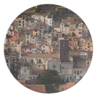Italy, Sardinia, Bosa. Town view with Castello Plate