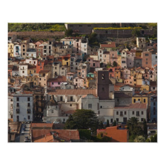 Italy, Sardinia, Bosa. Town view with Castello Poster
