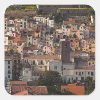 Italy, Sardinia, Bosa. Town view with Castello Square Sticker