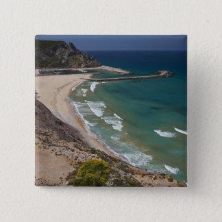 Italy, Sardinia, Buggerru. Buggerru beach and 15 Cm Square Badge