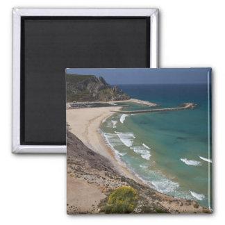 Italy, Sardinia, Buggerru. Buggerru beach and Magnet