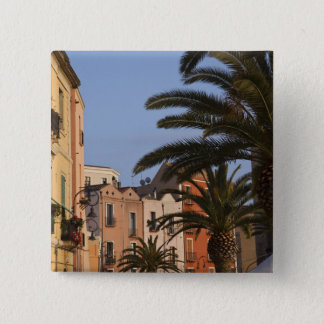 Italy, Sardinia, Cagliari. Buildings and palms 15 Cm Square Badge