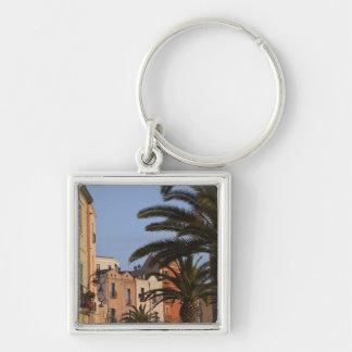 Italy, Sardinia, Cagliari. Buildings and palms Key Ring