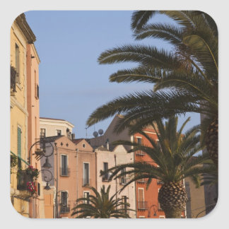 Italy, Sardinia, Cagliari. Buildings and palms Square Sticker